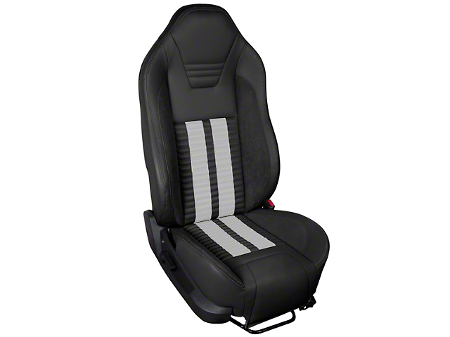 Premium Sport R500 Upholstery & Foam Kit; Black Vinyl & White Stripe/Stitch (05-07 All)