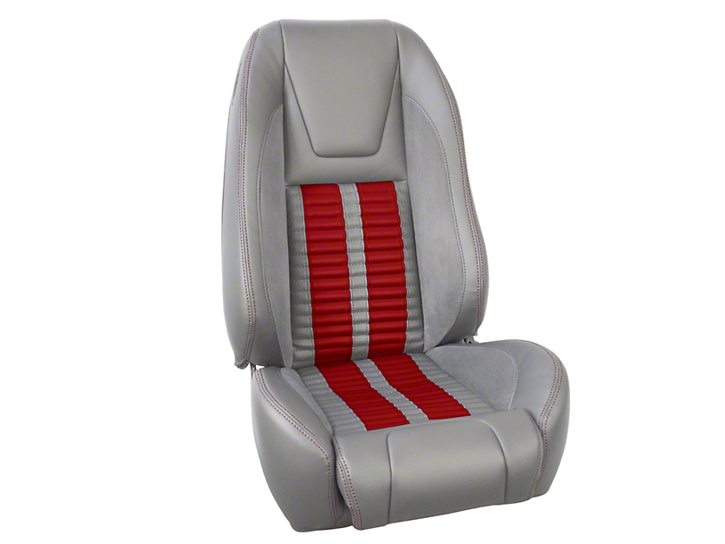TMI Premium Sport R500 Upholstery & Foam Kit - Gray Vinyl & Red Stripe/Stitch (87-93 All)