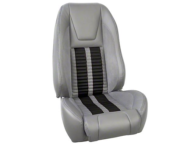 TMI Premium Sport R500 Upholstery & Foam Kit; Gray Vinyl & Black Stripe/Stitch (87-93 All)