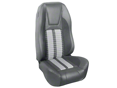 TMI Premium Sport R500 Upholstery & Foam Kit - Gray Vinyl & White Stripe/Stitch (94-98 All)