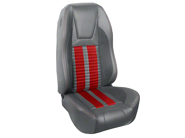 TMI Premium Sport R500 Upholstery & Foam Kit; Gray Vinyl & Red Stripe/Stitch (94-98 All)
