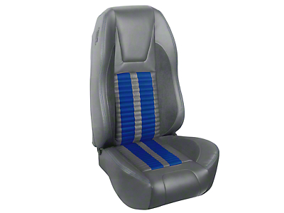 TMI Premium Sport R500 Upholstery & Foam Kit - Gray Vinyl & Blue Stripe/Stitch (94-98 All)