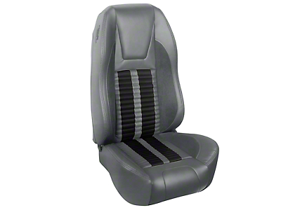 TMI Premium Sport R500 Seat Upgrade - Gray Vinyl & Black Stripe/Stitch (94-98 Convertible)