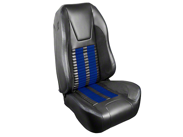 TMI Premium Sport R500 Upholstery & Foam Kit - Dark Charcoal Vinyl & Blue Stripe/Stitch (99-04 All)