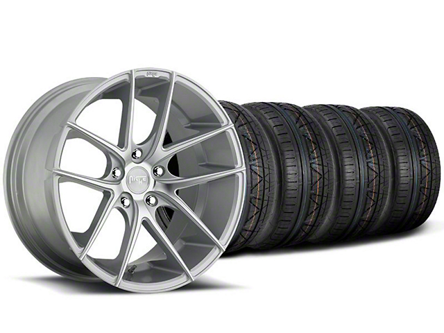Staggered Niche Targa Matte Silver Wheel and NITTO INVO Tire Kit; 19x8.5/9.5 (05-14 All)