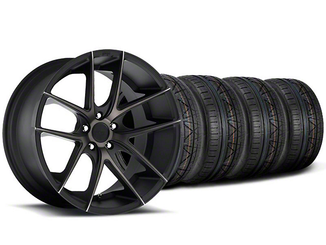 Staggered Niche Targa Black Wheel and NITTO INVO Tire Kit; 19x8.5/9.5 (05-14 All)