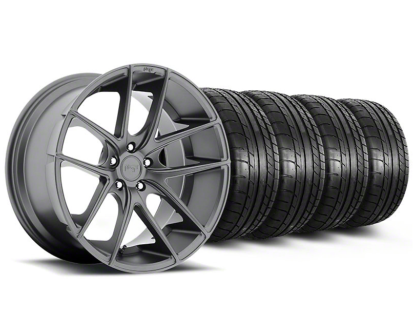Staggered Niche Targa Anthracite Wheel and Mickey Thompson Tire Kit; 19x8.5/9.5 (05-14 All)