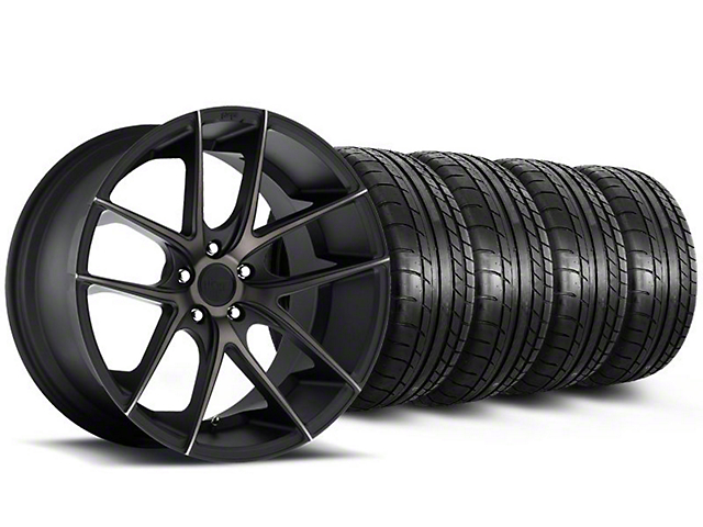 Staggered Niche Targa Black Wheel and Mickey Thompson Tire Kit; 20x8.5/10 (05-14 All)