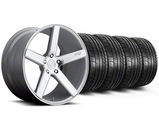 Staggered Niche Milan Silver Wheel and Mickey Thompson Tire Kit; 20x8.5/10 (05-14 All)
