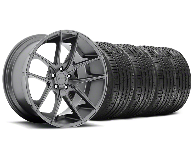 Staggered Niche Targa Matte Anthracite Wheel and Sumitomo Maximum Performance HTR Z5 Tire Kit; 20x8.5/10 (05-14 All)