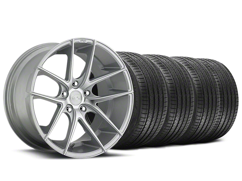 Staggered Niche Targa Matte Silver Wheel and Sumitomo Maximum Performance HTR Z5 Tire Kit; 20x8.5/10 (05-14 All)