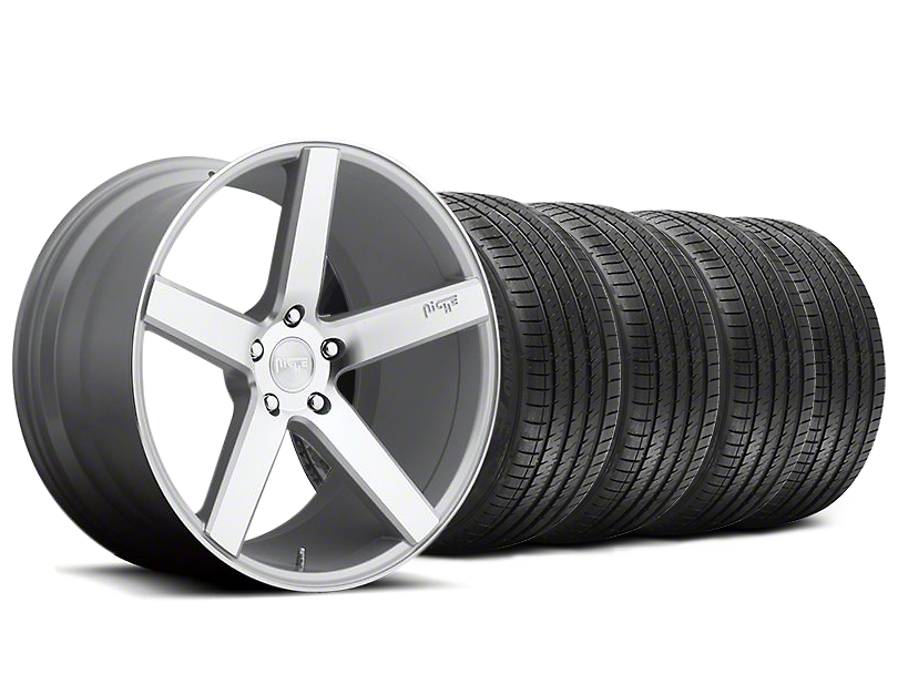 Staggered Niche Milan Silver Wheel and Sumitomo Maximum Performance HTR Z5 Tire Kit; 20x8.5/10 (05-14 All)