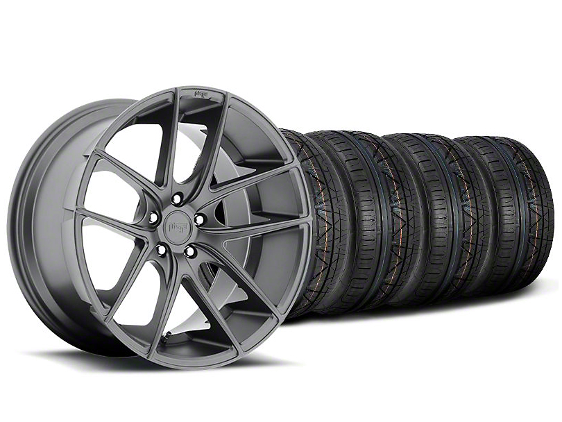 Staggered Niche Targa Matte Anthracite Wheel and NITTO INVO Tire Kit; 20x8.5/10 (05-14 All)