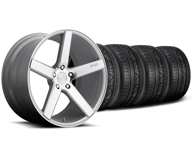 Staggered Niche Milan Silver Wheel and NITTO INVO Tire Kit; 20x8.5/10 (05-14 All)