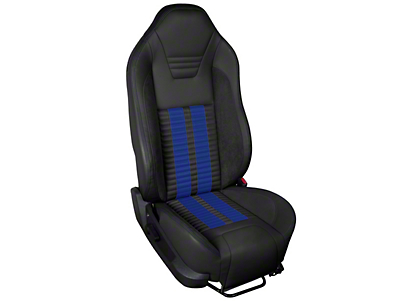TMI Premium Sport R500 Upholstery & Foam Kit - Black Vinyl & Blue Stripe/Stitch (05-07 All)