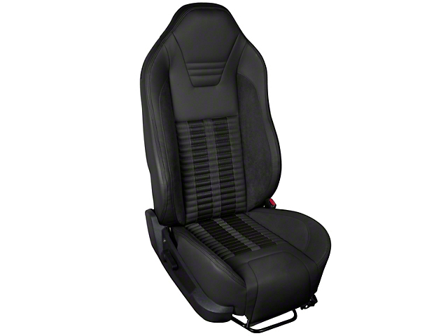 TMI Premium Sport R500 Upholstery & Foam Kit - Black Vinyl & Black Stripe/Stitch (05-07 All)