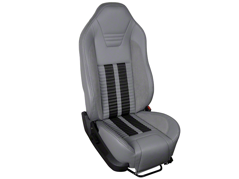 TMI Premium Sport R500 Upholstery & Foam Kit - Gray Vinyl & Black Stripe/Stitch (05-07 All)