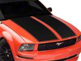 SEC10 Dual Hood Stripes; Matte Black (05-09 GT, V6)
