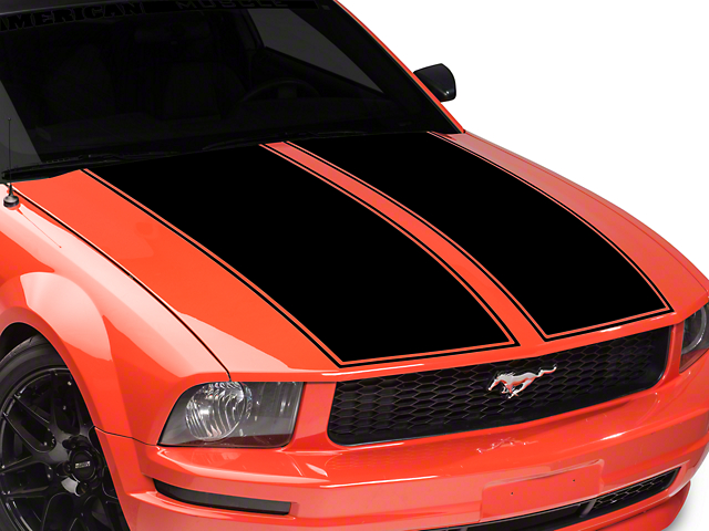 American Muscle Graphics Dual Hood Stripe - Black (05-09 GT, V6)