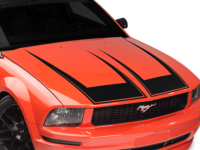 American Muscle Graphics Pinstriped Hood Decal - Matte Black (05-09 GT, V6)