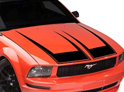 American Muscle Graphics Pinstriped Hood Decal; Black (05-09 GT, V6)