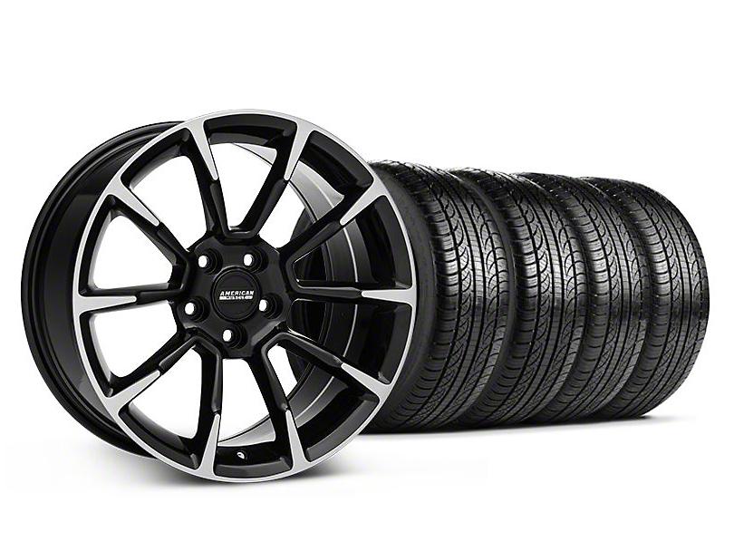 11/12 GT/CS Style Black Machined Wheel and Pirelli Tire Kit; 19x8.5 (05-14 All)