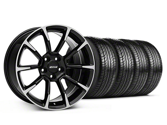 11/12 GT/CS Style Black Machined Wheel and Pirelli Tire Kit; 19x8.5 (05-14 All)
