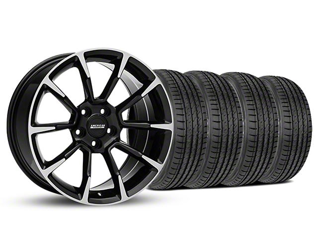 11/12 GT/CS Style Black Machined Wheel and Sumitomo Maximum Performance HTR Z5 Tire Kit; 19x8.5 (05-14 All)
