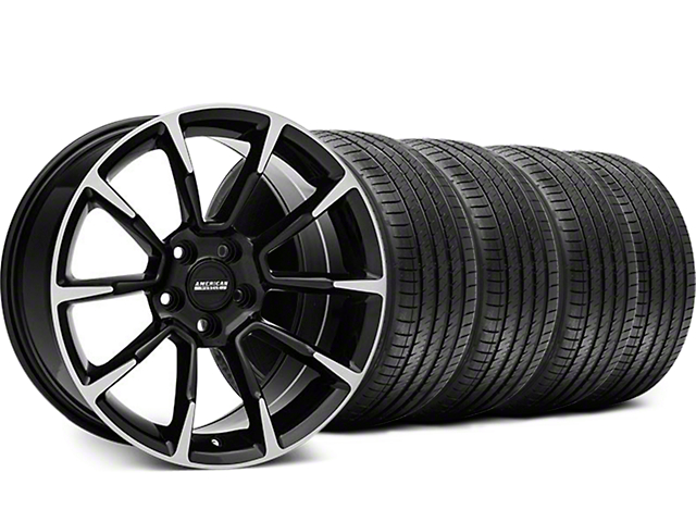 Staggered 11/12 GT/CS Style Black Machined Wheel and Sumitomo Maximum Performance HTR Z5 Tire Kit; 18x9/10 (05-14 GT, V6)