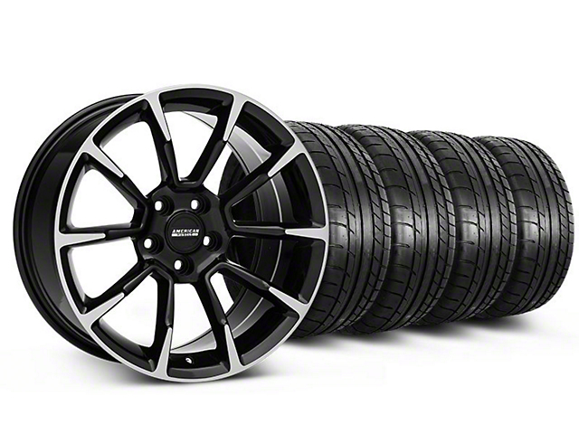 Staggered 11/12 GT/CS Style Black Machined Wheel and Mickey Thompson Tire Kit; 18x9/10 (05-14 GT, V6)