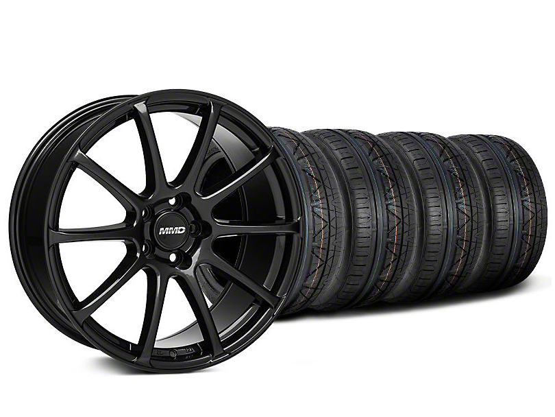 Staggered MMD Axim Gloss Black Wheel and NITTO INVO Tire Kit; 20x8.5/10 (05-14 All)