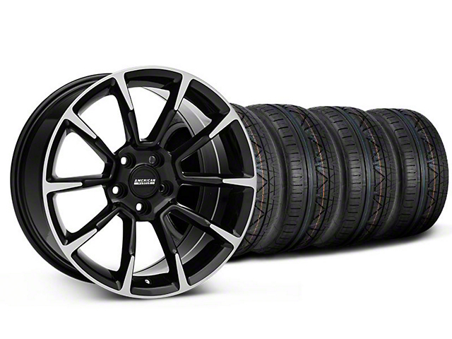 Staggered 11/12 GT/CS Style Black Machined Wheel and NITTO INVO Tire Kit; 19x8.5/10 (05-14 All)