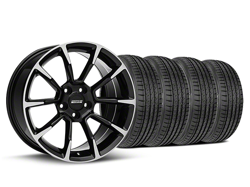 Staggered 11/12 GT/CS Style Black Machined Wheel & Sumitomo Tire Kit - 19x8.5/10 (05-14 All)