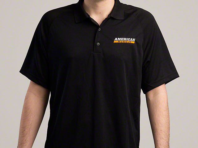AmericanMuscle Performance Polo Shirt; Black