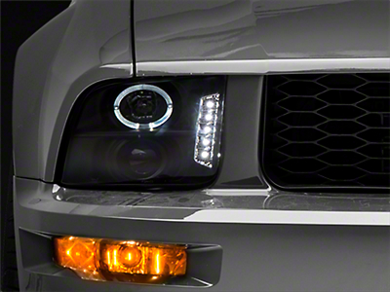 Raxiom Black Projector Headlights - LED Halo (05-09 GT, V6)
