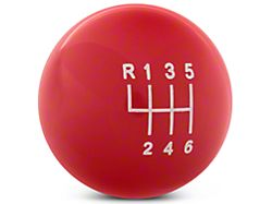 Modern Billet Retro Style 6-Speed Shift Knob; Red (11-14 GT, V6)