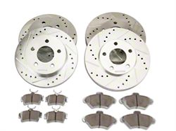 Power Stop Z26 Street Warrior Brake Rotor and Pad Kit; Front and Rear (94-98 GT, V6)