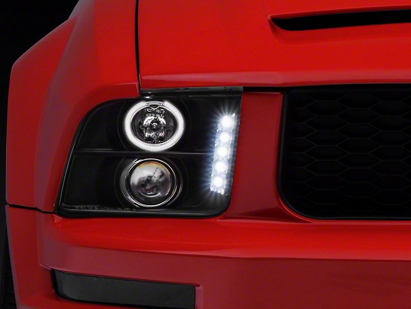 Axial Black Projector Headlights - LED Halo (05-09 GT, V6)