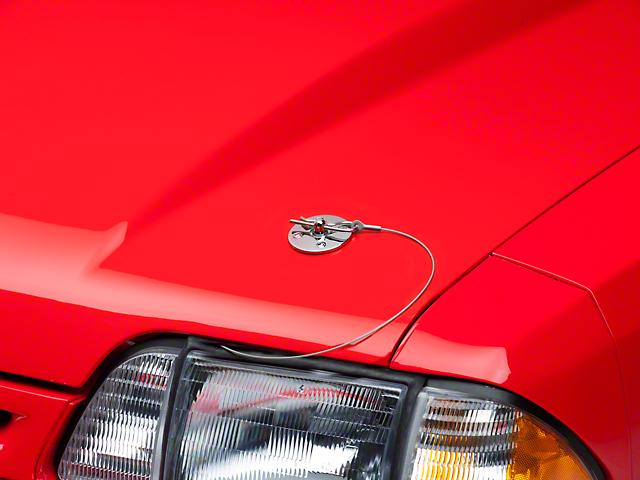 Modern Billet Hood Pin Appearance Kit; Chrome (79-93 All)