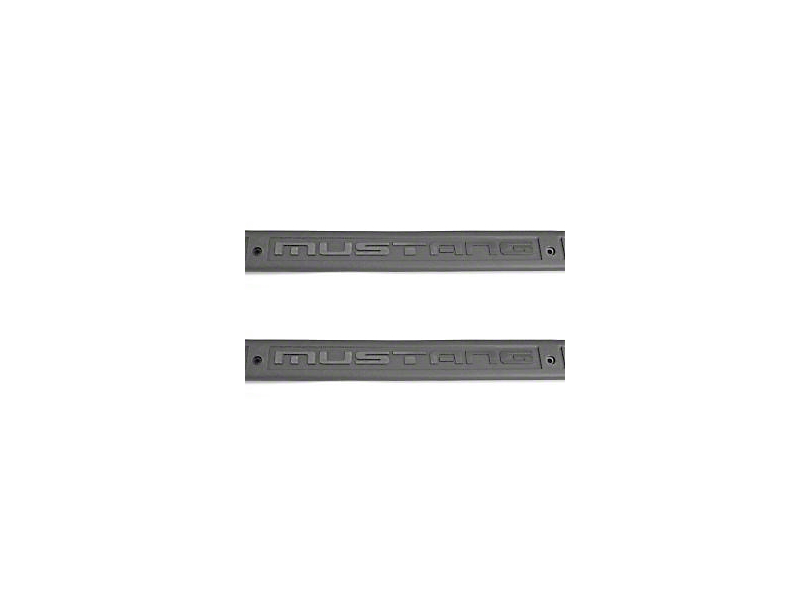 Scott Drake Mustang Lettered Door Sill Plates - Gray (79-93 All)