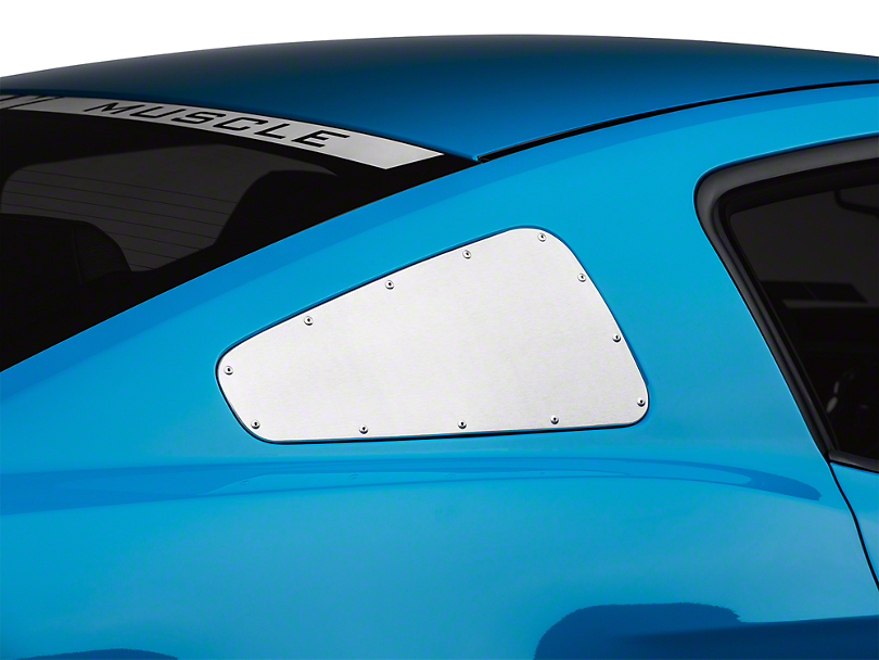 Scott Drake Window Covers with Rivets; Brushed (10-14 Coupe)
