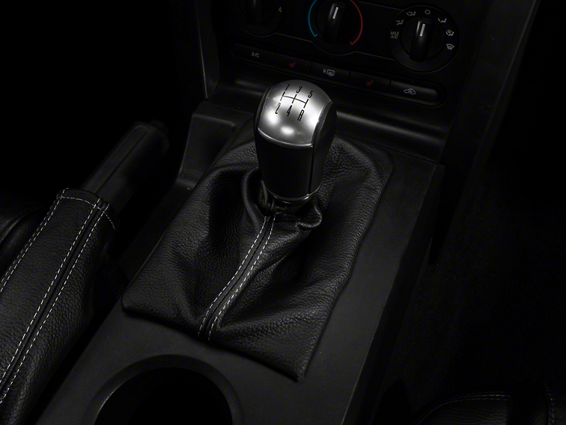 Alterum Premium Black Leather Shift Boot - Silver Stitch (05-09 w/ Manual Transmission)
