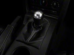 Alterum Premium Black Leather Shift Boot; Silver Stitch (05-09 w/ Manual Transmission)