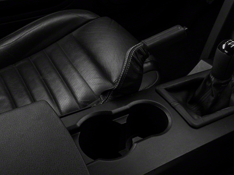 Premium Black Leather E-Brake Boot - Silver Stitch (05-09 All)
