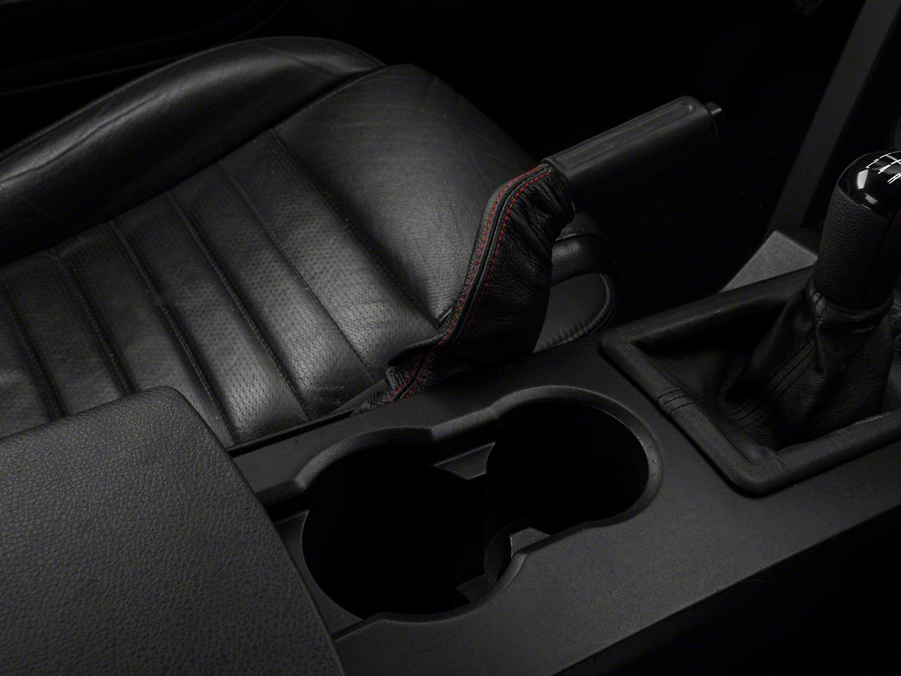 Alterum Premium Black Leather E-Brake Boot - Red Stitch (05-09 All)