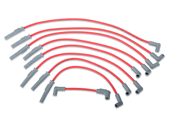 msd mustang super conductor 8 5mm spark plug wires red 32209 94 rh americanmuscle com
