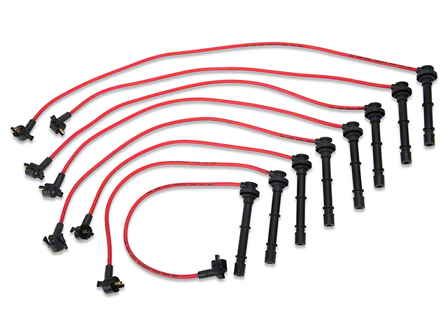 MSD Mustang Super Conductor 8.5mm Spark Plug Wires - Red 32219 (96 on fuel injection, ignition coil, spark plug wires, mopar plug wires, nology plug wires, oil pump, ford racing plug wires, bosch plug wires, overhead camshaft, fuel pump, magnecor plug wires, routing plug wires, scout 80 plug wires, air filter, mallory plug wires, ignition timing, moroso plug wires, accel plug wires, ngk plug wires, fuel filter, timing belt, custom motorcycle plug wires, electronic control unit, ford motorsports plug wires, honda plug wires, exhaust system, spark gap, ignition system, engine control unit, colours of a uk plug in wires,