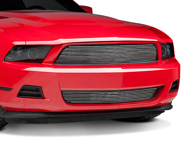 Modern Billet Pony Delete Grille; Polished (10-12 V6)
