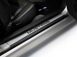 Modern Billet Door Sill Plates with Mustang Logo; Stainless Steel (94-04 All)