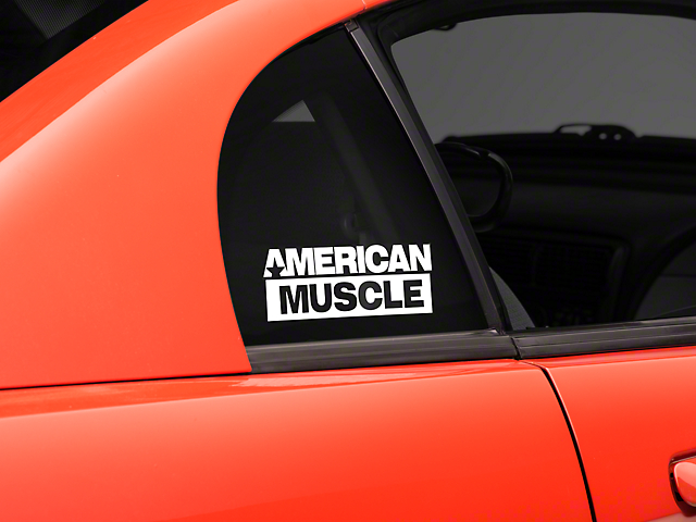 SEC10 AmericanMuscle Quarter Window Decal; White (94-04 All)